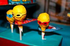 Lollipops at a Superhero Party #superhero #party