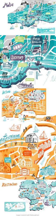 great use of shadow and hand drawn elements...Cathrine Finnema illustration - Maps of Norway