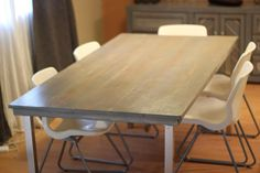 Rustic Modern Dining Table by RarelyDomestic on Etsy, $400.00