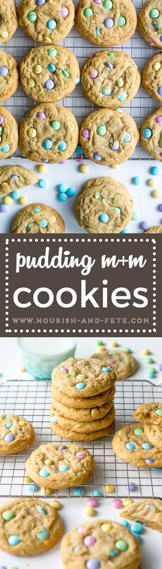 Classic pudding cookies are soft, chewy, and oh-so-cheerful with a sprinkling of M&Ms. Perfect for kids in the kitchen!  #cookies #pudding