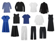 A Simple Black, White and Bright Blue wardrobe, with accessories