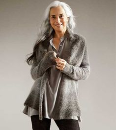 Stylish Older Woman with Long Wavy Hair