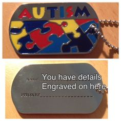 ID Tag on ball chain necklace - ENGRAVABLE - Brad's Little Aussie Autism Shop