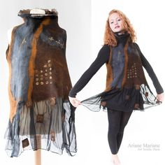 Stunning wearable art women garment nuno felt by ArianeMariane