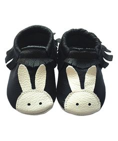 Take a look at this Forgotten Princess Black Bunny Fringe Leather Booties - Kids today!