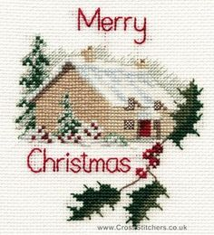 Christmas Cottage Greetings Card Cross Stitch Kit from Derwentwater Designs