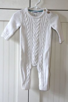 NWOT - CHEROKEE Boys White Cable Sweater Romper One Piece Knit Outfit Sz 6 mo #Cherokee #DressyHoliday