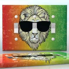 DIY Do It Yourself Home Decor - Easy to apply wall plate wraps | Jamaican Vacation  Lion in sunglasses on a Jamaican color background  wallplate skin sticker for 3 Gang Toggle LightSwitch | On SALE now only $5.95