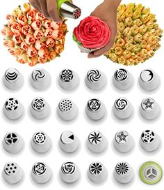 Russian Piping Tips - 29 Piece Cake Baking Supplies - http://freebiefresh.com/russian-piping-tips-29-piece-review/