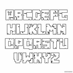 Minecraft Font, Bolo Minecraft, Minecraft Templates, Minecraft Printable, Bullet Journal Font, Bullet Journal Ideas Pages, Minecraft Drawings, Alphabet Templates, Minecraft Birthday Party