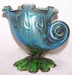Loetz art glass vase, 'Neptun' pattern, 1903, seashell shape on an organic base