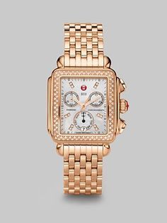 #SaksLLTrip Michele Watches Diamond Accented Rose Goldtone Chronograph Watch