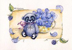по мотивам работ Ксении Милецкой открытка мишки тедди акварель  art watercolor postcard teddy