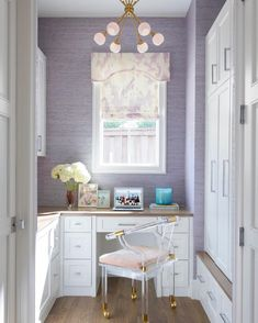New Traditional Home office with purple wallpaper Home Office Design, Office Decor, Office Ideas, Lucite Chairs, Pink Chairs, Dining Chairs, Custom Consoles, Acrylic Chair, Bold Wallpaper