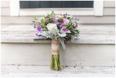 purple themed wedding bouquet. Maine Fall Wedding Photos by Linda Barry Photography
