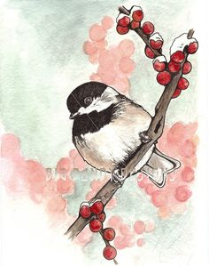 Carolina Chickadee Original Watercolor Painting by BigDandyDesigns, $25.00