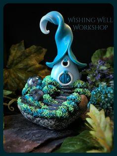 Polymer Clay Fairy House-Blues & Greens-Garden Globe Series Wishing Well Workshop