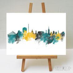 Watercolour Art Print Dublin Skyline 02 by FireflyDesignsArt on Etsy Dublin Skyline, Dublin Castle, Banks Building, Watercolour Art, St Patrick, Custom Homes, Cathedral, Tapestry, Art Prints