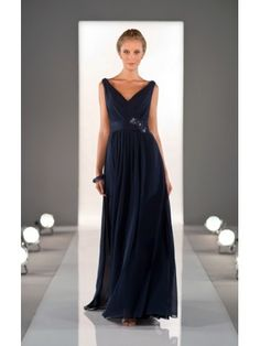 Generous A-line Straps V-neck Chiffon Bridesmaid Dress with Beading