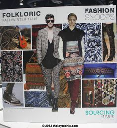 Folkloric channels the glamour of the '60s and '70s in a mix of bohemian and folk. The trend can go two ways: clean with simple lines, or very embellished with mixed materials. Rich tapestry fabrics are at the heart of this trend. Plush, textured materials, embroidery, patchwork, and appliqué create a creative yet cohesive mix. Embroidery, border prints, and print mixing are key. Colors include: blues, deep reds, warm neutrals, honey tones, and red-casted browns.