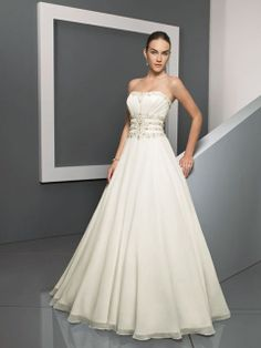 A-line Strapless Chiffon Sweep Train Beading Wedding Dresses at Millybridal.com