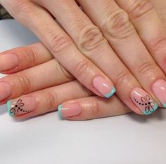 Beautiful nails 2016, Beautiful summer french nails, Blue French manicure, Color french manicure, Fashion nails 2016, Ideas of summer french nails, Manicure by summer dress, Nail polish for blue dress