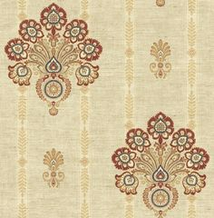 Striped Floral Damask Wallpaper in Red and Gold from the Caspia Collection by Wallquest