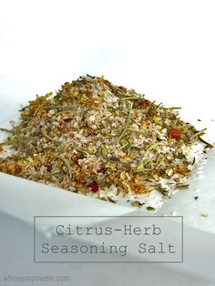 Uses of Citrus-Herb Seasoning Salt: sprinkle on chicken, pork or fish before cooking add to balsamic vinegar & olive oil dipping sauce for bread. Rub Recipes, No Salt Recipes, Cooking Recipes, Homemade Spices, Homemade Seasonings, Herb Salt Recipe, Lemon Herb Seasoning Recipe, Lemon Verbena Recipes, Dried Lemon