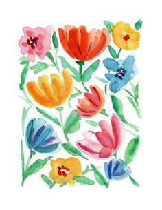 Resumen de flora, impresión del arte de la acuarela de thejoyofcolor, colorido, arte decorativo, día de las madres, arte moderno, boho chic