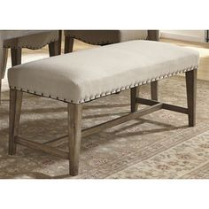 Liberty Weatherford Weathered Grey Upholstered Nailhead Bench | Overstock.com Shopping - Great Deals on Dining Chairs