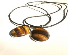 Tigers Eye Pendant Natural Brown and Gold Gemstone by ZhiJewelry