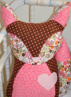Fox pillow friend  big heart with lots of love to by hiphoptot, $50.00