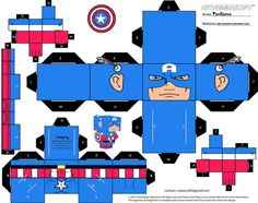 Marvel Captain America Cubee by TheFlyingDachshund on DeviantArt Diy Paper, Paper Art, Paper Crafts, Paper Cube, Prime Movies, Cartoon Tv, Cartoon Paper, Superhero Party, Paper Models