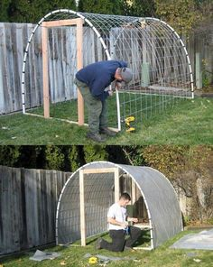 Great photo guide to making your own mini greenhouse using cattle panels. This is similar to my hubby's hoop greenhouse Build A Greenhouse, Greenhouse Gardening, Greenhouse Ideas, Cheap Greenhouse, Greenhouse Wedding, Indoor Greenhouse, Homemade Greenhouse, Underground Greenhouse, Dome Greenhouse