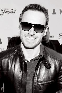 Leather Jacket l Shades l Michael Fassbender