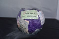 Compliment Jar: Take an old vase/glass container, and modge podge quotes, bible verses, inspirational statements to the inside. Then fill with compliments given to you by friends, family, teachers, ect. Anytime you feel stressed, helpless, or sad pull a compliment out and remember that someone truly cares about you. Every college student needs one of these!