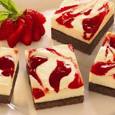 Strawberry Cheesecake Brownies - Get the great taste of yummy strawberry cheesecake on top of a chewy, chocolatey brownie.