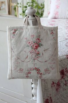 """French antique handmade fabric bag"""