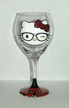 Hello Kitty Geek Girl  Hand Painted Wine Glass by AGlassofClass, $25.00