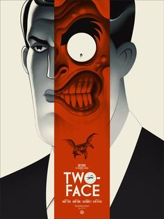 Two-Face by Phantom City Creative  #poster #flat #illustration http://www.artcoursework.com/illustration.html