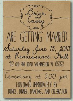 Illustrated Whimsy -- Hand Drawn Style Printed Wedding Invitation - Illustrated style