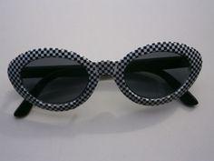 1 schwarz weiße Sonnenbrille Retro Brille Nerdbrille 50s 60s Vintage Sunglasses