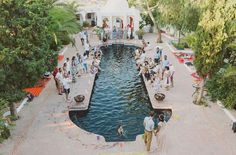 Spain wedding with a poolside ceremony