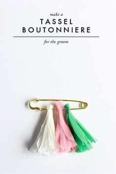 DIY: Tassel Boutonniere.  The House That Lars Built. use in wedding colors.  easy boutonniere for groom and groomsmen.  won't wilt or break off, can be saved later as a keepsake.  wedding on a budget.