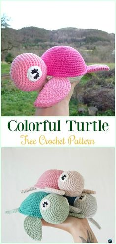 Amigurumi Crochet Colorful Turtle Free Pattern - #Crochet; #Turtle; Amigurumi Toy Softies Free Patterns
