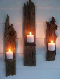 Driftwood Candle Wall Sconces - a great DIY! Rustic Wall Sconces, Candle Wall Sconces, Rustic Walls, Rustic Shutters, Bathroom Candles, Wood Sconce, Rustic Wood Decor, Rustic Crafts, Bathroom Lighting