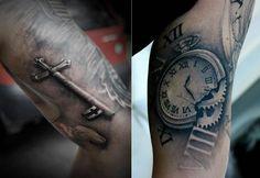 old key pocket watch tattoos by Bacanu Bogdan