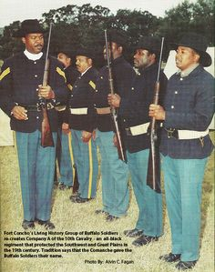 Fort Concho's Living History Group of Buffalo Soldiers recreates Company A of the 10th Cavalry - an all-black regiment that protected the Southwest and Great Plains in the 19th century. Tradition says that the Comanche Indians of the region gave the Buffalo Soldiers their name.