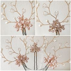 Hermione Harbutt Blush Pearl and Blush Swarovski Crystal Forget Me Not Hairpins  https://www.hermioneharbutt.com/wedding/combs/buy.php?Product=326&Title=Forget+Me+Not+Hairpins