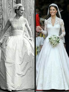 Kate Middleton and Grace Kelly wedding dresses
